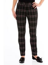 Checked Stretch Trousers Black/Red - Gallery Image 2