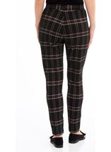 Checked Stretch Trousers Black/Red - Gallery Image 3