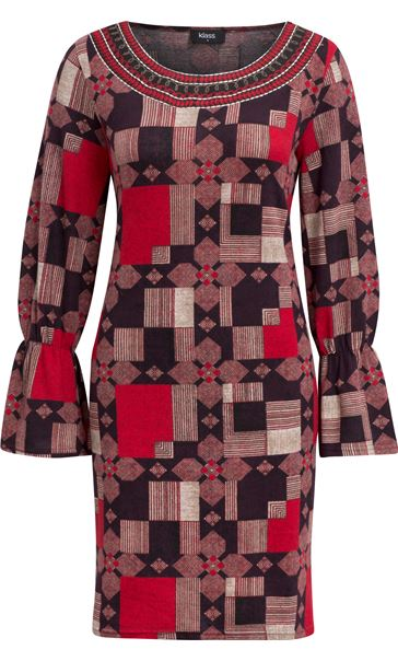 Printed Long Sleeve Dress Red Multi