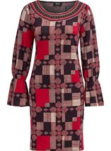 Printed Long Sleeve Dress Red Multi - Gallery Image 1