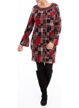 Printed Long Sleeve Dress Red Multi - Gallery Image 2
