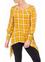 Check Dipped Hem Tunic Mustard - Gallery Image 1