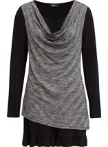 Jersey And Knit Layered Tunic Black - Gallery Image 3