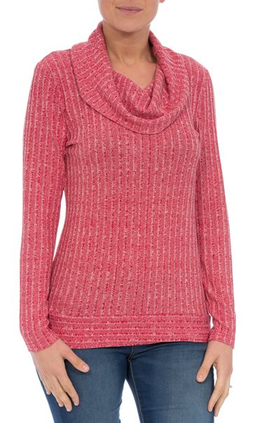 Long Sleeve Stripe Cowl Neck Knit Top Red/White