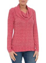 Long Sleeve Stripe Cowl Neck Knit Top Red/White - Gallery Image 1