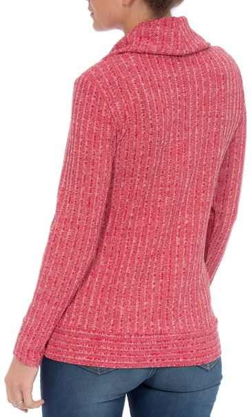 Long Sleeve Stripe Cowl Neck Knit Top Red/White - Gallery Image 2