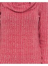 Long Sleeve Stripe Cowl Neck Knit Top Red/White - Gallery Image 3