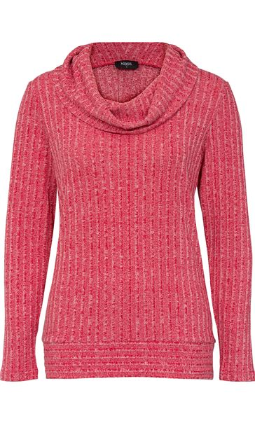 Long Sleeve Stripe Cowl Neck Knit Top Red/White - Gallery Image 4