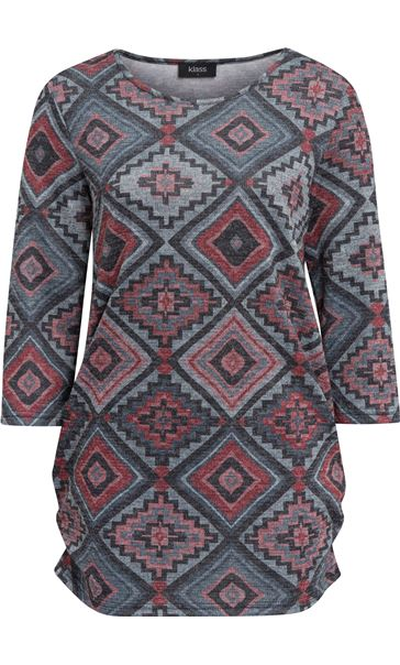 Printed Three Quarter Sleeve Tunic Red/Black/Grey