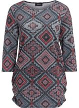 Printed Three Quarter Sleeve Tunic Red/Black/Grey - Gallery Image 1