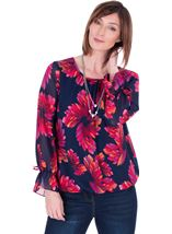 Georgette Printed Round Neck Top Navy/Pink - Gallery Image 1