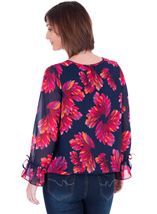 Georgette Printed Round Neck Top Navy/Pink - Gallery Image 2