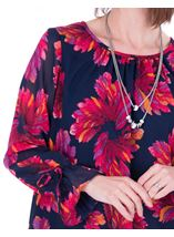 Georgette Printed Round Neck Top Navy/Pink - Gallery Image 3