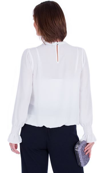 Long Sleeve Pintuck Detail Chiffon Top