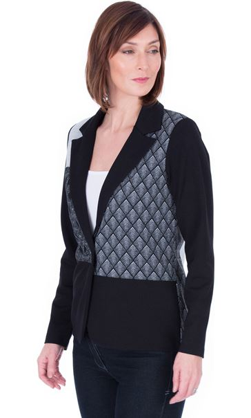 Patchwork Stretch Jacket Black/Grey