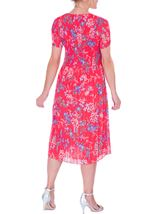 Anna Rose Pleated Short Sleeve Midi Dress Watermelon - Gallery Image 3