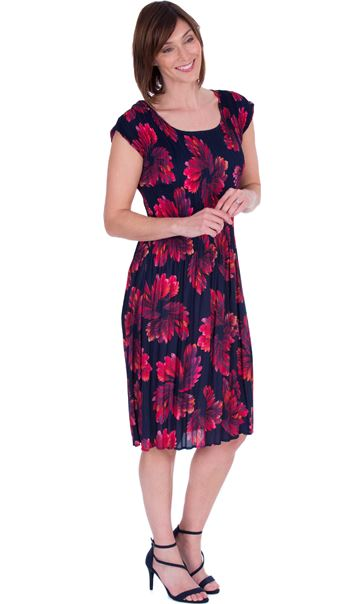 Floral Print Pleated Sleeveless Midi Dress Navy/Pink