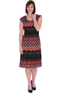 Print Pleated Sleeveless Midi Dress