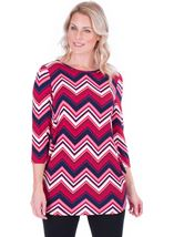 Zig Zag Printed Tunic Navy/Pink - Gallery Image 1