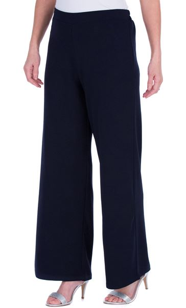 Wide leg Pull On Trousers Blue