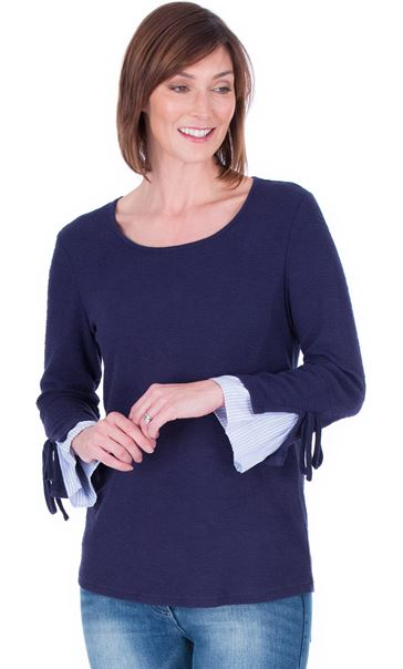 Striped Cuff Stretch Top Navy