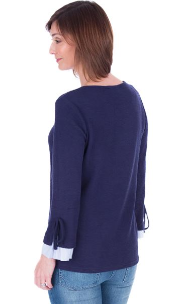 Striped Cuff Stretch Top Navy - Gallery Image 2