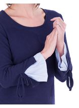Striped Cuff Stretch Top Navy - Gallery Image 3