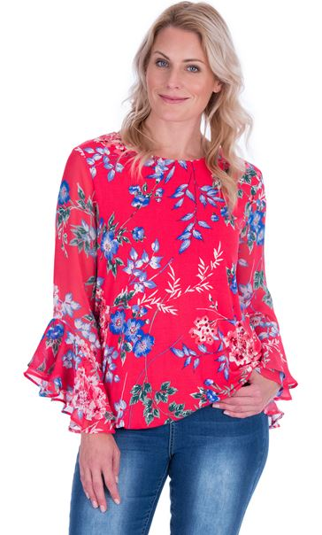 Floral Chiffon And Stretch Fabric Bubble Hem Top Watermelon