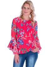 Floral Chiffon And Stretch Fabric Bubble Hem Top Watermelon - Gallery Image 1