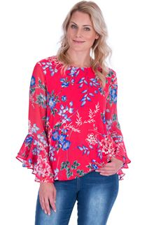 Floral Chiffon And Stretch Fabric Bubble Hem Top