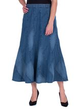 Panelled Denim Maxi Skirt Blue - Gallery Image 1