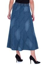 Panelled Denim Maxi Skirt Blue - Gallery Image 2