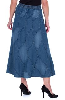 Panelled Denim Maxi Skirt - Blue