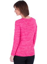 Knitted Eyelet Trim Top Pink - Gallery Image 2