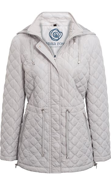 Anna Rose Quilted Hooded Coat Silver Grey