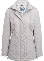 Anna Rose Quilted Hooded Coat Silver Grey - Gallery Image 1