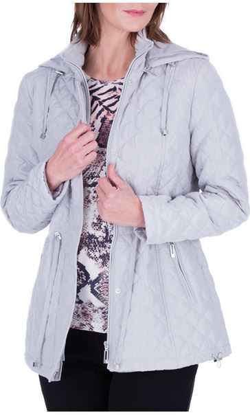 Anna Rose Quilted Hooded Coat Silver Grey - Gallery Image 2