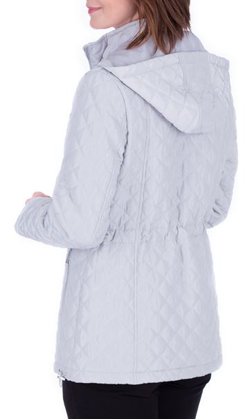 Anna Rose Quilted Hooded Coat Silver Grey - Gallery Image 3