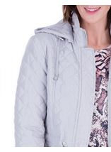 Anna Rose Quilted Hooded Coat Silver Grey - Gallery Image 4