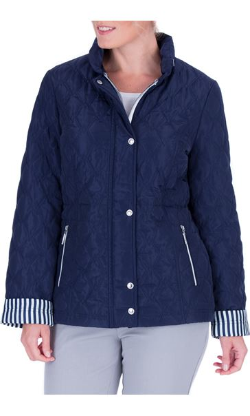 Anna Rose Stripe Cuff Quilted Coat Navy