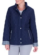Anna Rose Stripe Cuff Quilted Coat Navy - Gallery Image 1