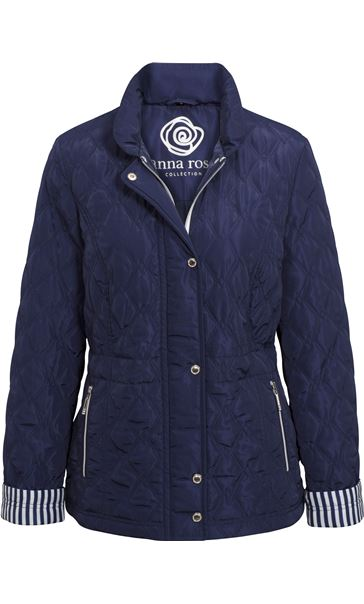 Anna Rose Stripe Cuff Quilted Coat Navy - Gallery Image 3