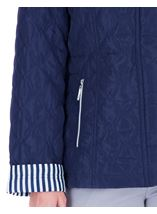 Anna Rose Stripe Cuff Quilted Coat Navy - Gallery Image 4