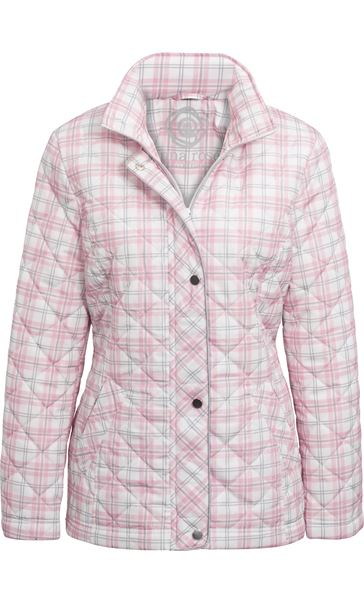 Anna Rose Check Quilted Coat Quartz Pink