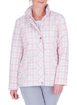 Anna Rose Check Quilted Coat Quartz Pink - Gallery Image 2