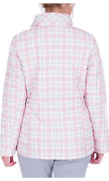 Anna Rose Check Quilted Coat Quartz Pink - Gallery Image 3