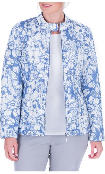 Anna Rose Floral Print Zip Coat Blue
