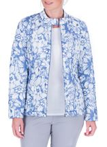 Anna Rose Floral Print Zip Coat Blue - Gallery Image 1