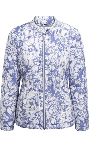 Anna Rose Floral Print Zip Coat Blue - Gallery Image 3