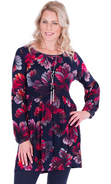 Long Sleeve Printed Jersey Tunic Navy/Pink